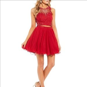 Jodi Kristopher two piece red prom dress lace NEW